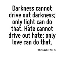Darkness cannot drive out darkness; only light can do that. Hate cannot drive out hate; only love can do that. by TerrificPenguin