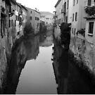 Rio Canal in Mantua, Italy in BW  by Igor Pozdnyakov