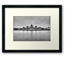 Hungarian Parliament Building in fog (b&w) Framed Print