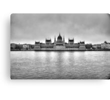 Hungarian Parliament Building in fog (b&w) Canvas Print