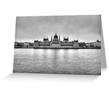 Hungarian Parliament Building in fog (b&w) Greeting Card
