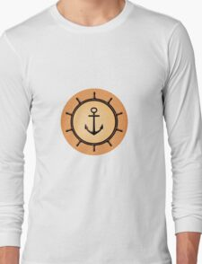 Vintage Brass Nautical Anchor and Ship's Wheel Long Sleeve T-Shirt