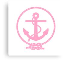 Pink Nautical Anchor and Line Canvas Print