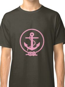 Pink Nautical Anchor and Line Classic T-Shirt