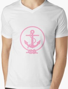 Pink Nautical Anchor and Line Mens V-Neck T-Shirt