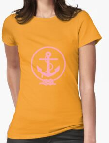 Pink Nautical Anchor and Line Womens Fitted T-Shirt