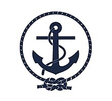 Navy Blue Nautical Anchor and Line Photographic Print