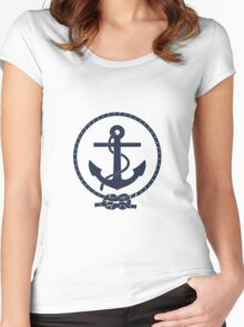 Navy Blue Nautical Anchor and Line Women's Fitted Scoop T-Shirt