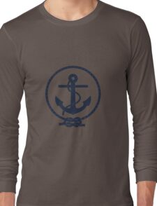 Navy Blue Nautical Anchor and Line Long Sleeve T-Shirt