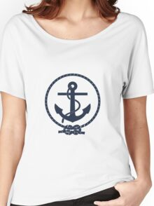 Navy Blue Nautical Anchor and Line Women's Relaxed Fit T-Shirt