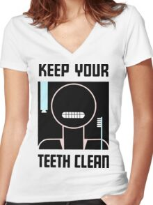 Keep your teeth clean retro minimalist ad Women's Fitted V-Neck T-Shirt
