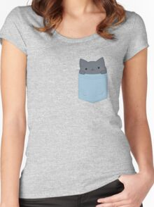 Pocket Cat Women's Fitted Scoop T-Shirt