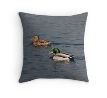 Mr. & Mrs. Mallard out for a swim Throw Pillow