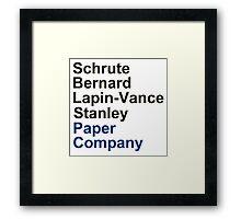 Schrute Bernard Lapin-Vance Stanley Framed Print