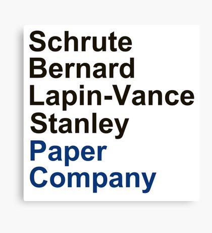 Schrute Bernard Lapin-Vance Stanley Canvas Print