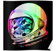 Astronaut Space Cat (digital rainbow version) Poster