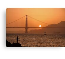 Golden Gate Golden Sunset Canvas Print