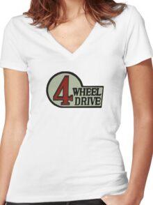 Toyota FJ40 Land Cruiser Four Wheel Drive Emblem Women's Fitted V-Neck T-Shirt