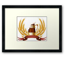 Beer mug cereal ears and banner for your text Framed Print