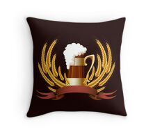 Beer mug cereal ears and banner for your text Throw Pillow