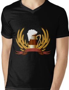 Beer mug cereal ears and banner for your text Mens V-Neck T-Shirt