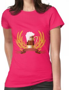 Beer mug cereal ears and banner for your text Womens Fitted T-Shirt