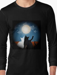 dreaming cats on a roof Long Sleeve T-Shirt