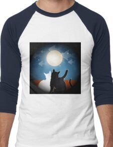dreaming cats on a roof Men's Baseball ¾ T-Shirt
