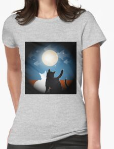 dreaming cats on a roof Womens Fitted T-Shirt