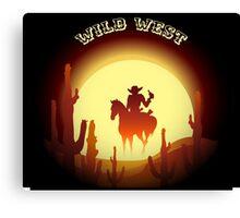 Wild West theme with desert rider Canvas Print