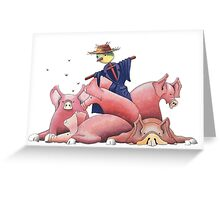 scarecrow and pigs Greeting Card