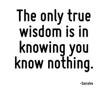 The only true wisdom is in knowing you know nothing. by TerrificPenguin
