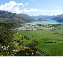 Helicopter High ( 7 ) Wanaka just after take-off. by Larry Lingard-Davis