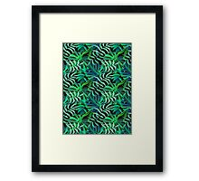 Endor jungle green leaves pattern Framed Print