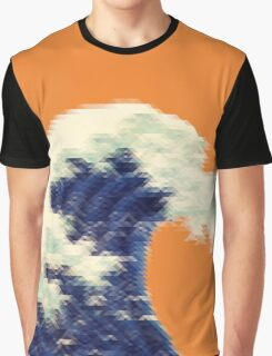 Triangular Pixel Wave Graphic T-Shirt