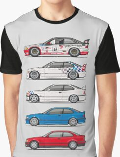 Stack of BMW 3 Series E36 Coupes Graphic T-Shirt