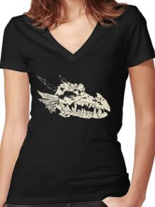Ancient Dragon Skull Women's Fitted V-Neck T-Shirt