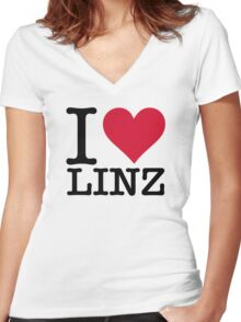 I Love Linz Women's Fitted V-Neck T-Shirt
