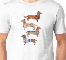 Dachshunds on Blue Unisex T-Shirt