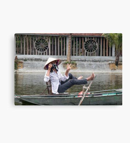 Vietnamese Photographer Boat Lady  Canvas Print
