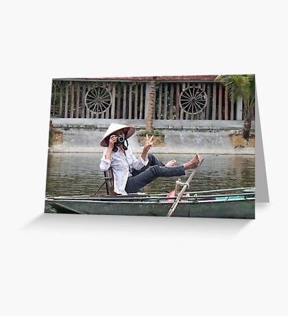 Vietnamese Photographer Boat Lady  Greeting Card