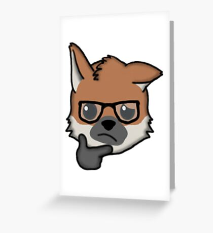 Maned Wolf With Glasses Thinking Face Emoji Greeting Card