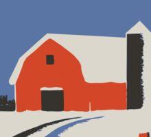 Colorful Barn and Silo Peaceful Winter Scene Sticker