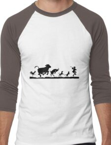 Funny Dancing Animals Cow Chicken Goat Silhouette Men's Baseball ¾ T-Shirt
