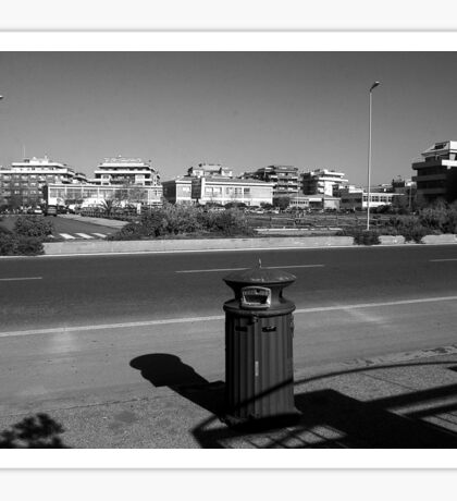 Ostia seafront: buildings and garbage can Sticker