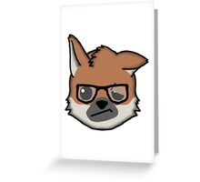 Maned Wolf With Glasses Face Emoji Greeting Card