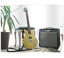 gold top electric guitar and amplifier Poster