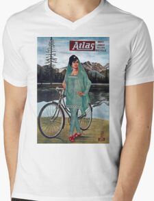 Vintage poster - Atlas Bicycle Mens V-Neck T-Shirt
