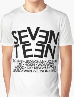 Seventeen/17 Logo + Member Names KPOP Graphic T-Shirt