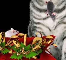 Cat and Mouse Christmas Sticker